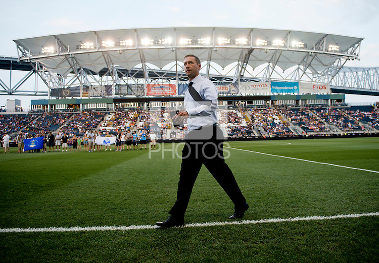 Portland Timbers head coach Caleb Porter walks onto the field before a Major League Soccer game at PPL Park in Chester, PA.  Philadelphia Union tied the Portland Timbers, 0-0.