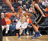 Virginia guard Ataira Franklin (23) handles the ball during an NCAA college basketball game in Charlottesville, Va. Duke defeated Virginia 62-41...