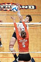 SAN ANTONIO, TX - SEPTEMBER 29, 2011: The Sam Houston State University Bearkats vs. The University of Texas at San Antonio Roadrunners Volleyball at the UTSA Convocation Center. (Photo by Jeff Huehn)
