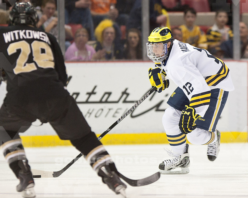 The University of Michigan ice hockey team falls to Western Michigan University 5-2 in the CCHA Tournament semifinals at Joe Louis Arena in Detroit, Mich. on March 18, 2011.