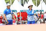 (L-R) <br /> Takaharu Furukawa, <br />  Tomomi Sugimoto (JPN),  <br /> AUGUST 27, 2018 - Archery : <br /> Recurve Mixed Team Final <br /> at Gelora Bung Karno Archery Field <br /> during the 2018 Jakarta Palembang Asian Games <br /> in Jakarta, Indonesia. <br /> (Photo by Naoki Morita/AFLO SPORT)