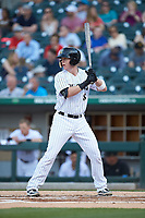 Zack Collins (8) of the Charlotte Knights at bat against the Toledo Mud Hens at BB&T BallPark on April 23, 2019 in Charlotte, North Carolina. The Knights defeated the Mud Hens 11-9 in 10 innings. (Brian Westerholt/Four Seam Images)