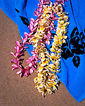 Hawaiian Leis and blue beach towel, Hawaiian Islands