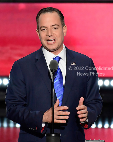 Reince Priebus, RNC Chairman ,makes remarks at the 2016 Republican National Convention held at the Quicken Loans Arena in Cleveland, Ohio on Thursday, July 21, 2016.<br /> Credit: Ron Sachs / CNP<br /> (RESTRICTION: NO New York or New Jersey Newspapers or newspapers within a 75 mile radius of New York City)