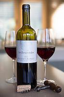 English wine - Bottle of Sedlescombe red wine Regent Rondo, cork and corkscrew from Sedlescombe Vineyard in Kent, England, UK