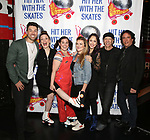 """Ace Young, Christine Rea, Amy Toporek, Madeline Fansler, Diana DeGarmo, Rick Briskin and Michael Schiralli attend the Meet the Cast of """"Hit Her WithThe Skates"""" at the Bowlmor Times Square on October 16, 2018 in New York City."""