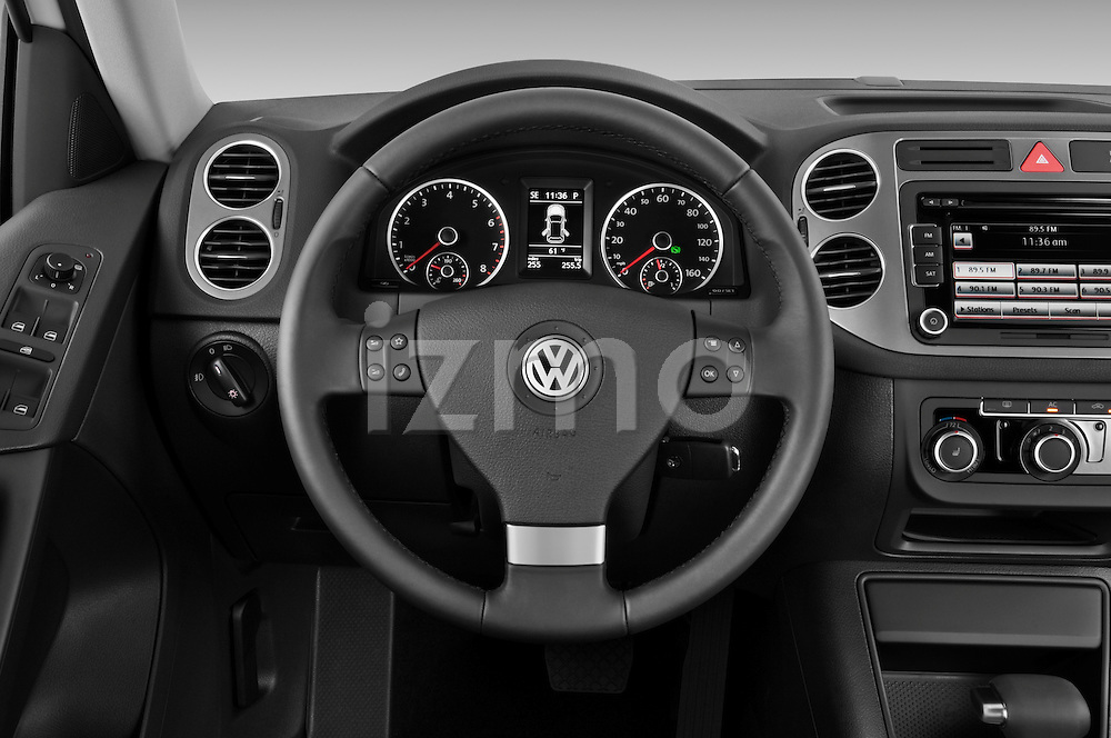 Steering wheel view of a 2010 Volkswagen Tiguan Wolfsburg SUV  Stock Photo