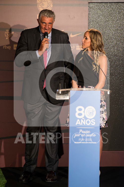 Fernando Romay and Marta Fernandez during the 80th Aniversary of the National Basketball Team at Melia Castilla Hotel, Spain, September 01, 2015. <br /> (ALTERPHOTOS/BorjaB.Hojas)