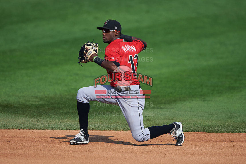 Indianapolis Indians second baseman Alen Hanson (13) throws to second after fielding a ground ball during a game against the Rochester Red Wings on June 10, 2015 at Frontier Field in Rochester, New York.  Indianapolis defeated Rochester 5-3.  (Mike Janes/Four Seam Images)