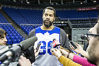 16.01.2013 London, England. New York Knicks forward Rasheed Wallace (36) talks to the media during team practice ahead of the NBA London Live 2013 game between the Detroit Pistons and the New York Knicks from The O2 Arena