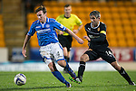 St Johnstone v Motherwell......27.10.13      SPFL<br /> Paddy Cregg is closed down by Keith Lasley<br /> Picture by Graeme Hart.<br /> Copyright Perthshire Picture Agency<br /> Tel: 01738 623350  Mobile: 07990 594431