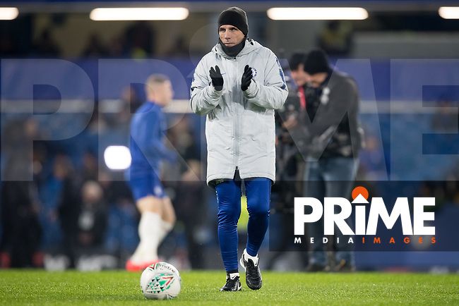Chelsea coach Gianfranco Zola during the Carabao Cup Semi-Final 2nd leg match between Chelsea and Tottenham Hotspur at Stamford Bridge, London, England on 24 January 2019. Photo by Andy Rowland.