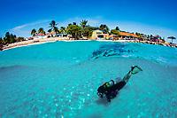 Scuba diver swims over sandy bottom (split view), Bonaire, Netherland Antilles, Caribbean Sea, Atlantic Ocean, MR