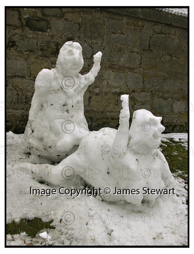 24th February 2001    Copyright Pic : James Stewart .Ref :                           .File Name : stewart05-frisky the snowman.THE RANDY SNOWMAN AND SNOWWOMAN WAVE TO THE PASSING TRAFFIC AT LARBERT CROSS.......Payments to :-.James Stewart Photo Agency, Stewart House, Stewart Road, Falkirk. FK2 7AS      Vat Reg No. 607 6932 25.Office : +44 (0) 1324 630007        Mobile : 07721 416997.Fax     : +44 (0) 1324 630007.E-mail : jim@jspa.co.uk.If you require further information then contact Jim Stewart on any of the numbers above.........