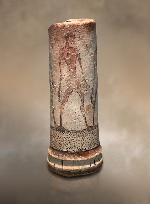 Cycladic cylindrical vase illustrated with a fisherman (1600 BC) , Phylakopi III, Melos. National Archaeological Museum Athens. Cat No 5782.<br /> <br /> The vase has a procession of 4 fishermen illustrated on iy running all the way round it.
