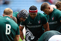 Leicester Tigers forwards huddle together during the pre-match warm-up. Gallagher Premiership match, between Wasps and Leicester Tigers on September 16, 2018 at the Ricoh Arena in Coventry, England. Photo by: Patrick Khachfe / JMP