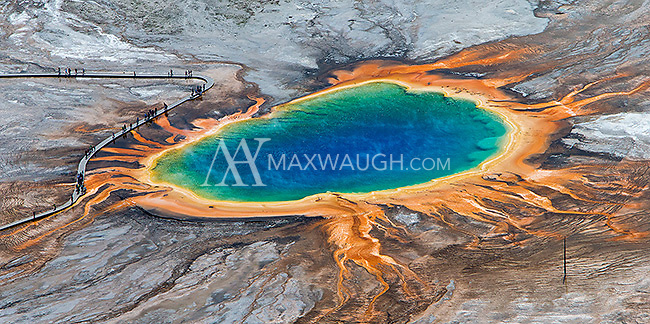 Grand Prismatic Spring, North America's largest hot spring, photographed during an aerial shoot of Yellowstone.