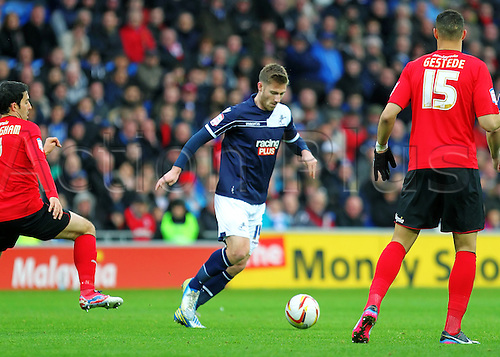 29.12.2012 Cardiff, Wales. James Henry of Millwall  in action during the Championship game between Cardiff City and Millwall from the Cardiff City Stadium.