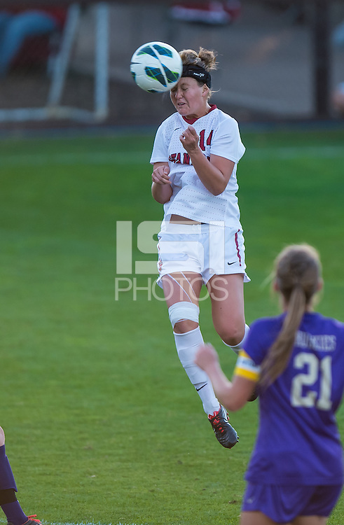 STANFORD, CA - October 21, 2012: Stanford vs Washington in a women's soccer match in Stanford, California.  Stanford won 3-0.