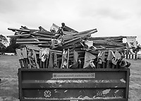 Henley-on-Thames. United Kingdom.  Chairs Piled on the trailer for  delivery to the Stewards Enclousure. 2017 Henley Royal Regatta, Henley Reach, River Thames. <br /> <br /> 12:55:10  Tuesday  27/06/2017   <br /> <br /> [Mandatory Credit. Peter SPURRIER/Intersport Images.
