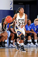 12 January 2012:  FIU guard Jerica Coley (22) handles the ball in the first half as the Middle Tennessee State University Blue Raiders defeated the FIU Golden Panthers, 74-60, at the U.S. Century Bank Arena in Miami, Florida.