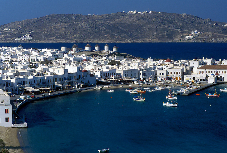 Mykonos, Greek Islands, Cyclades, Greece, Europe, Scenic view of Mykonos Harbor on the Aegean Sea.