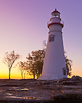 Marblehead Lighthouse State Park, OH<br /> Marblehead Lighthouse (1819) at dawn on Lake Erie, oldest lighthouse in continuous operatoin on the Great Lakes