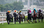 Horse Oriental Fantasia (l) ridden by Jack Wong Ho-nam and horse Amritsaria (2nd l) ridden by Brett Prebble compete during the Race 2, Tim Wa Handicap, at the Sha Tin Racecourse on 03 September 2017 in Hong Kong, China. Photo by Marcio Rodrigo Machado / Power Sport Images