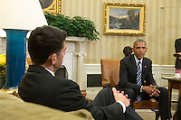 United States President Barack Obama, right, meets with Speaker of the US House Paul Ryan (Republican of Wisconsin), left, and other bipartisan members of Congressional leadership to discuss a Congressional agenda and his recent trip to Asia, in the Oval Office of the White House in Washington, DC, USA, 12 September 2016.<br /> Credit: Michael Reynolds / Pool via CNP /MediaPunch