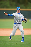 Central Connecticut State Blue Devils infielder Jay Devito (14) during warmups before a game against the North Dakota State Bison on February 23, 2018 at North Charlotte Regional Park in Port Charlotte, Florida.  North Dakota State defeated Connecticut State 2-0.  (Mike Janes/Four Seam Images)