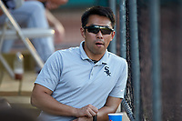 Winston-Salem Dash athletic trainer Hyeon Kim during the Carolina League game against the Down East Wood Ducks at Grainger Stadium Field on May 17, 2019 in Kinston, North Carolina. The Dash defeated the Wood Ducks 8-2. (Brian Westerholt/Four Seam Images)
