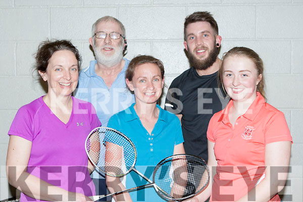Playing in the mixed doubles championship in Killarney Sports Centre on Friday were l-r: Brid Murphy, Tom Bradley, Catherine Murphy, Diam Fitzgerald, and Elaina Galvin