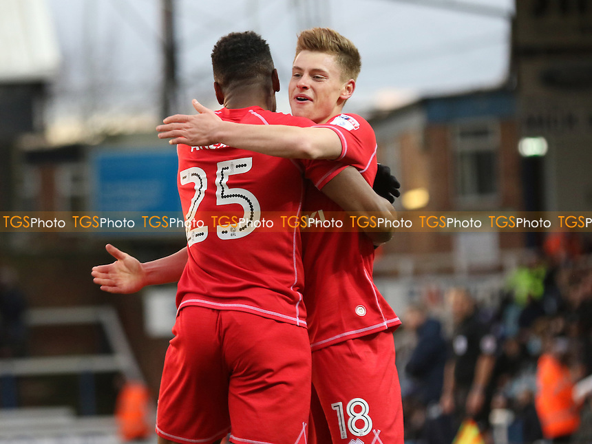 Harvey Barnes celebrates scoring MK Dons opening goal with Chuks Aneke during Peterborough United vs MK Dons, Sky Bet EFL League 1 Football at London Road on 28th January 2017