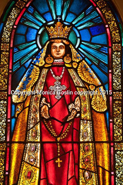 Stainglass inside the Cathedral Basilica of St. Francis of Assisi on East San Francisco Street