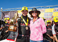 May 7, 2017; Commerce, GA, USA; NHRA top fuel driver Steve Torrence (left) celebrates with mother Kay Torrence after winning the Southern Nationals at Atlanta Dragway. Mandatory Credit: Mark J. Rebilas-USA TODAY Sports