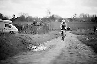 Jasper Stuyven (BEL/Trek-Segafredo) over the cobbles<br /> <br /> recon of the 114th Paris - Roubaix 2016