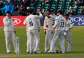 June 11th 2017, Trafalgar Road Ground, Southport, England; Specsavers County Championship Division One; Day Three; Lancashire versus Middlesex; Sadiq Mahmood of Lancashire is congratulated by his team mates after he bowls James Franklin for a duck as the home side press home their advantage ; Lancashire were all out for 309 after lunch in reply to Middlesex's first innings score of 180 all out