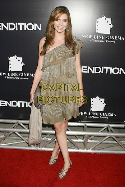 "CARLY STEEL.""Rendition"" Los Angeles Premiere held at the Academy of Motion Pictures Arts and Sciences Theatre, Beverly Hills, California, USA..October 10th, 2007.full length one shoulder dress layers layered gold sliver shoes clutch purse bag beige .CAP/ADM/RE.©Russ Elliot/AdMedia/Capital Pictures."