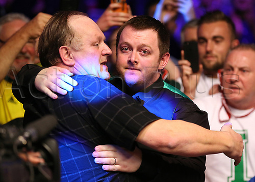 21st January 2018, Alexandra Palace, London, England; 2018 Dafabet Masters Final, Mark Allen versus Kyren Wilson; Mark Allen hugs his father after defeating defeating Kyren Wilson 10-7 to become 2018 Masters Champion