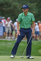 Justin Thomas (USA) sinks his par putt on 1 during 4th round of the World Golf Championships - Bridgestone Invitational, at the Firestone Country Club, Akron, Ohio. 8/5/2018.<br /> Picture: Golffile | Ken Murray<br /> <br /> <br /> All photo usage must carry mandatory copyright credit (© Golffile | Ken Murray)