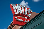 Patys classic diner sign in Toluca Lake neighborhood of the San Fernando Valley in Los Angeles, CA