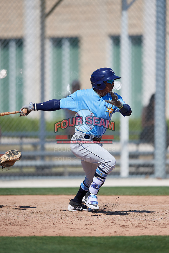 Tampa Bay Rays Wander Franco (4) during a Minor League Spring Training game against the Minnesota Twins on March 15, 2018 at CenturyLink Sports Complex in Fort Myers, Florida.  (Mike Janes/Four Seam Images)