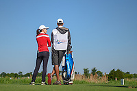 Jennifer Song (USA) talks to her caddy on the 9th tee during round 1 of  the Volunteers of America LPGA Texas Classic, at the Old American Golf Club in The Colony, Texas, USA. 5/5/2018.<br /> Picture: Golffile | Ken Murray<br /> <br /> <br /> All photo usage must carry mandatory copyright credit (&copy; Golffile | Ken Murray)