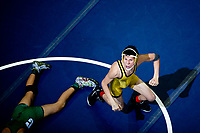Anthony Eickmeier, right, of David City Aquinas celebrates after beating Wilber-Clatonia's Jorge Hernandez, David C in Class C on February 20, 2015 during the NSAA State Wrestling Championships in Omaha, Neb.