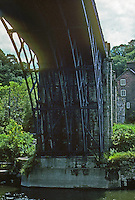 Technology: Coalbrookdale Iron Bridge.  Coalbrookdale is a village in the Ironbridge Gorge, Shropshire, London. T.M. Pritchard, architect. 1777-1779.  Photo '90.