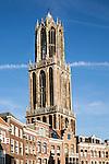 Famous fourteenth century Dom church tower in city of Utrecht, Netherlands