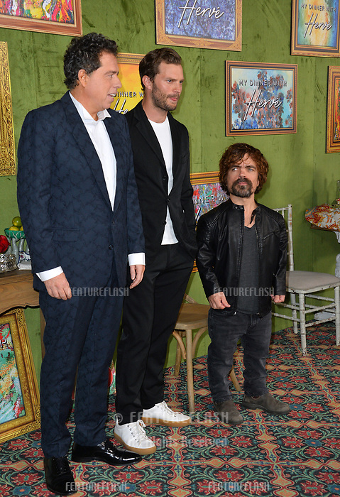 LOS ANGELES, CA. October 04, 2018: Sacha Gervasi, Jamie Dornan &amp; Peter Dinklage at the Los Angeles premiere for &quot;My Dinner With Herve&quot; at Paramount Studios.<br /> Picture: Paul Smith/Featureflash
