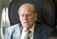 13 June 2017 - Prince Philip Duke of Edinburgh, marking the 175th anniversary of the first train journey by a British monarch. The Queen and The Duke of Edinburgh traveling from Slough to London Paddington on a Great Western Railway train, recreating the historic journey made by Queen Victoria on 13th June 1842. Photo Credit: ALPR/AdMedia