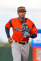 Bowling Green Hot Rods shortstop Wander Franco (4) jogs to the dugout between innings during a Midwest League game against the Cedar Rapids Kernels on May 2, 2019 at Perfect Game Field in Cedar Rapids, Iowa. Bowling Green defeated Cedar Rapids 2-0. (Brad Krause/Four Seam Images)