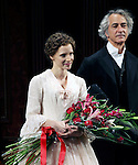Jessica Chastain & David Strathairn during the Broadway Opening Night Performance Curtain Call for 'The Heiress' at The Walter Kerr Theatre on 11/01/2012 in New York.
